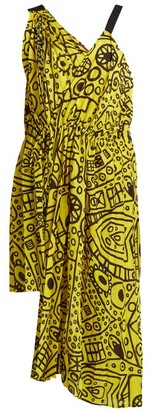 Colville - Abstract Print Asymmetric Tie Waist Dress - Womens - Yellow Print