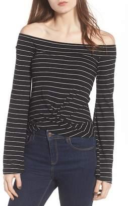 BP Stripe Twist Front Off the Shoulder Top