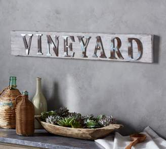 Pottery Barn Vineyard Fir Wood Galvanized Sign