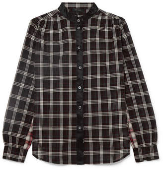 Marc Jacobs Satin-trimmed Checked Cotton Shirt - Black