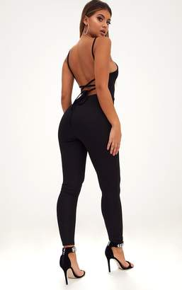 PrettyLittleThing Black Strappy Back Jumpsuit