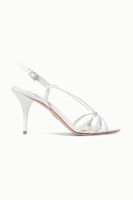 Prada 85 Leather Slingback Sandals - White