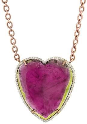Irene Neuwirth Watermelon Tourmaline and Diamond Pavé Heart Necklace
