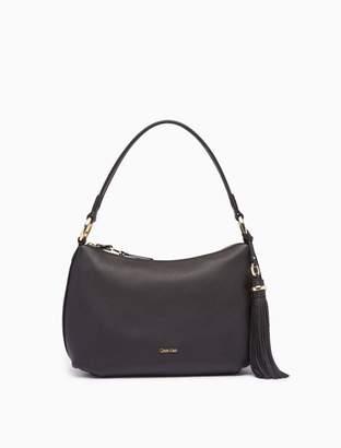 Calvin Klein pebble leather tassel hobo