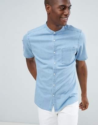Asos DESIGN stretch slim denim shirt in light wash with grandad collae