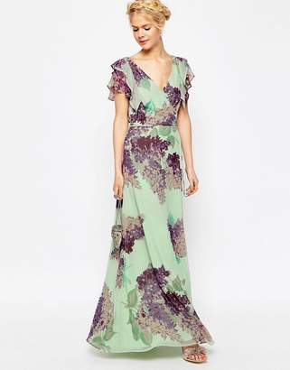 ASOS Frill Tea Maxi Dress in Floral Print $106 thestylecure.com