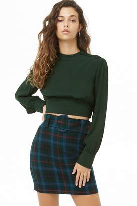 Forever 21 Shirred Button-Shoulder Crop Top