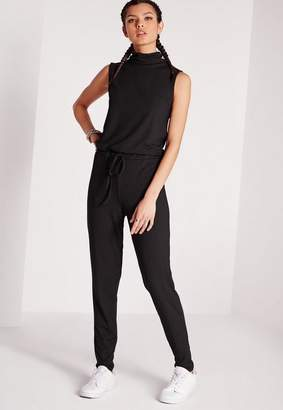 Missguided Roll Neck Skinny Rib Jumpsuit Black, Black
