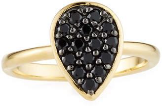 Viola Black Spinel Pear Ring