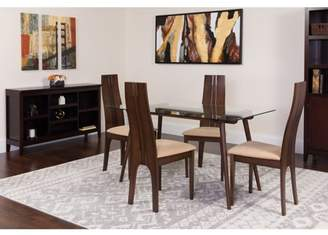 Flash Furniture Concord 5 Piece Espresso Wood Dining Table Set with Glass Top and Padded Wood Dining Chairs