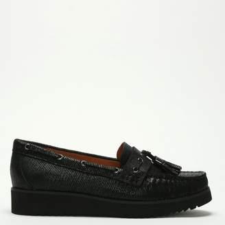 Diane von Furstenberg By Daniel Spinney Black Metallic Leather Tassel Loafers