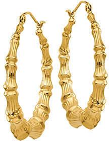 QVC 14K Bamboo Hoop Earrings