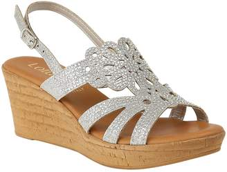b9384f21e17 Next Womens Lotus Diamanté Cork Effect Wedge Heel Sandals