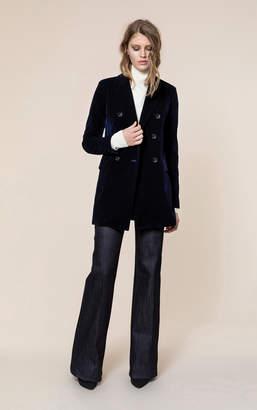 Soia & Kyo FARA straight fit double-breasted velvet blazer