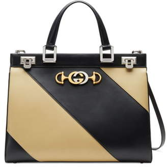 Gucci Medium Zumi Diagonal Stripe Top Handle Leather Bag