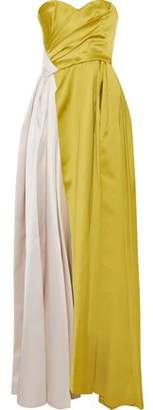 J. Mendel J.mendel Strapless Gathered Two-Tone Silk-Satin Gown