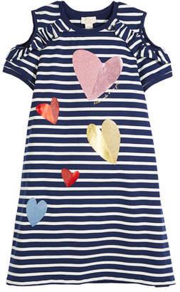 Kate Spade Tossed Hearts Striped Cold-Shoulder Dress, Size 7-14