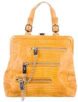 Tod's Lizard Frame Top Handle Bag