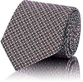 Brioni Men's Geometric-Pattern Silk Satin Necktie - Purple