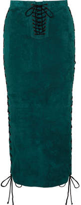 Unravel Project - Lace-up Suede Midi Skirt - Emerald