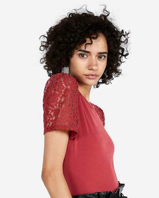 Express Crochet Lace Puff Sleeve Tee