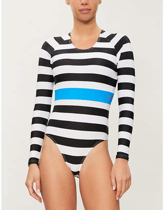 Perfect Moment Spring striped high-leg swimsuit