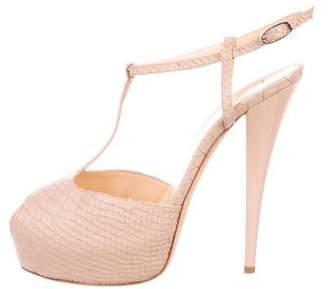 Giuseppe Zanotti Snakeskin T-Strap Sandals