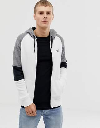 dc0795704f193 Hollister colourblock logo full zip hoodie in white grey black