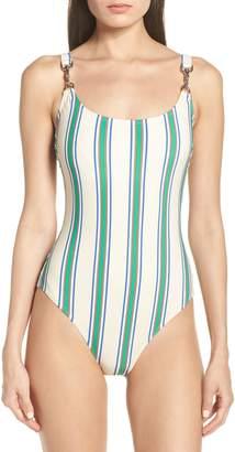 Tory Burch Stripe Clip Tank One-Piece Swimsuit