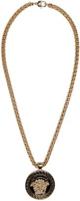 Versace Gold & Black Medusa Chain Necklace $825 thestylecure.com