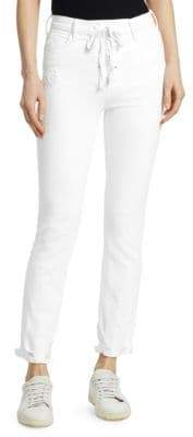 Mother Dazzler High-Rise Distressed Lace-Up Jeans