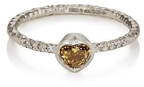 Malcolm Betts Women's Heart-Shaped Yellow Diamond Ring-Silver
