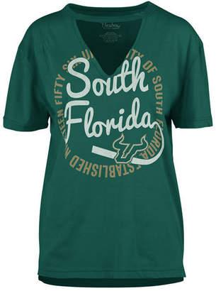 Royce Apparel Inc Women's South Florida Bulls Cutout V-Neck T-Shirt