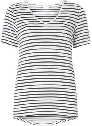 Dorothy Perkins Womens **Vila Navy and White Striped V-Neck T-Shirt