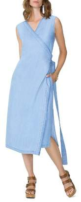 NYDJ Sleeveless Chambray Wrap Dress