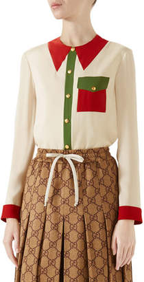 Gucci Long-Sleeve Button-Front Colorblock Silk Blouse