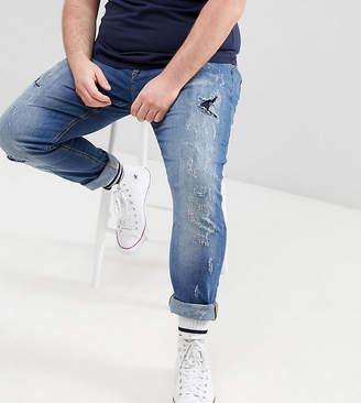 Blend of America Plus Lunar Light Wash Distressed Super Skinny Jeans