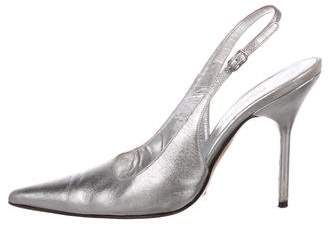 da0dd40e68e Dolce   Gabbana Metallic Leather Pointed-Toe Slingback Pumps