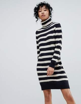 Pieces Hella Stripe Rollneck Mohair Mix Knit Sweater Dress