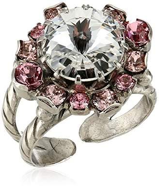Sorrelli Crystal Rose Adorned Round Crystal Ring