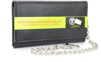 Montauk Leather Club Men's RFID Signal Blocking Tri-Fold Trucker's Wallet in Genuine Black Leather with Heavy Duty Chain