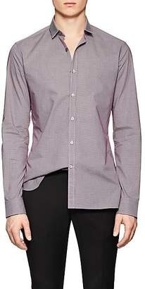 Lanvin Men's Micro-Checked Cotton Poplin Shirt - Md. Red