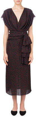 Magda Butrym Diablo V-Neck Cap-Sleeve Polka-Dot Silk Wrap Dress