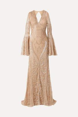 Naeem Khan Embellished Tulle Gown - Gold