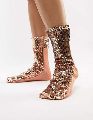 Asos DESIGN rose gold sequin sock