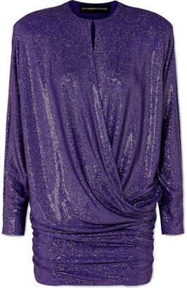 Alexandre Vauthier Draped Crystal-embellished Stretch-georgette Mini Dress