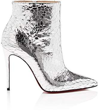 Christian Louboutin Women's So Kate Craquelé Leather Ankle Boots - Silver