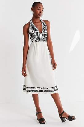 Urban Outfitters Embroidered Halter Midi Dress