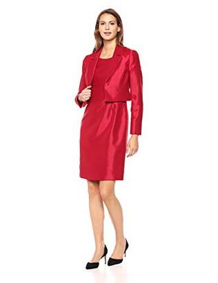 Le Suit Women's Notch Collar Shiny Fly Away Jacket with Sheath Dress