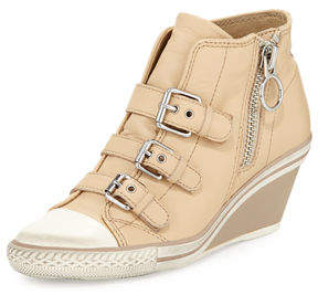 Ash Gin Bis Buckled Leather Wedge Sneaker